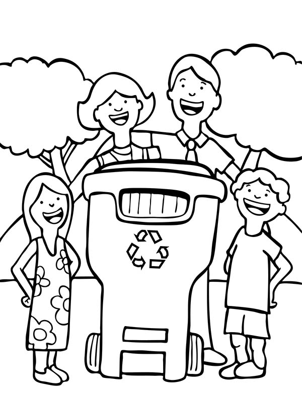 Recycling, : A Family Recycling Thing Coloring Page
