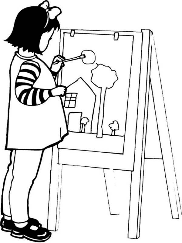 A Girl Paint A Beautiful House Coloring Page Coloring Sky