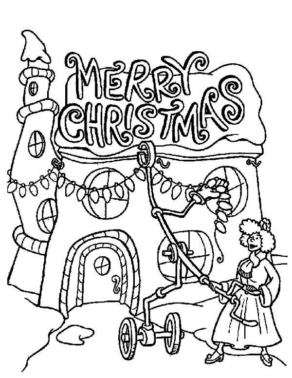 Christmas, : A Lady Decorating Her House on Christmas Coloring Page
