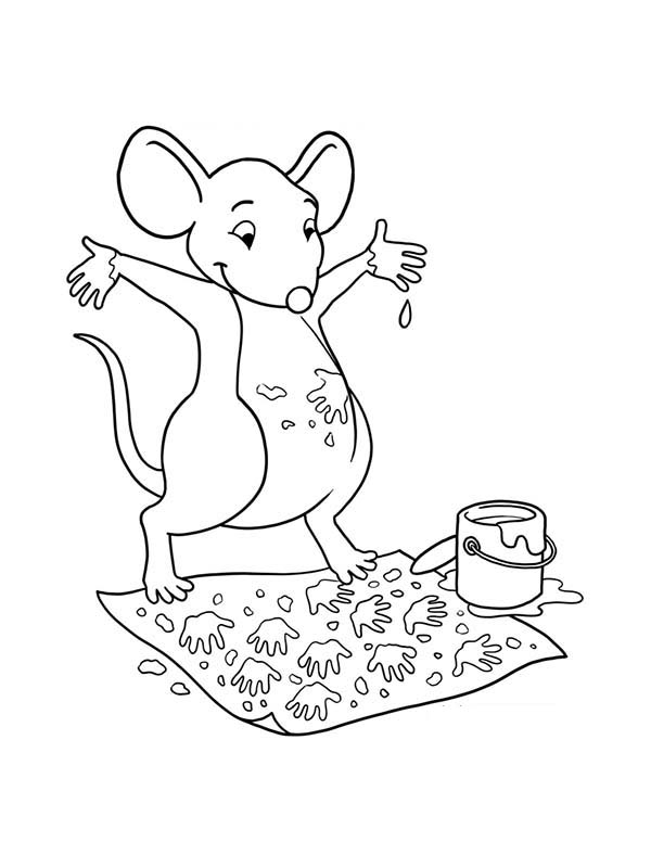 Paint, : A Mouse Paint with His Feet Coloring Page