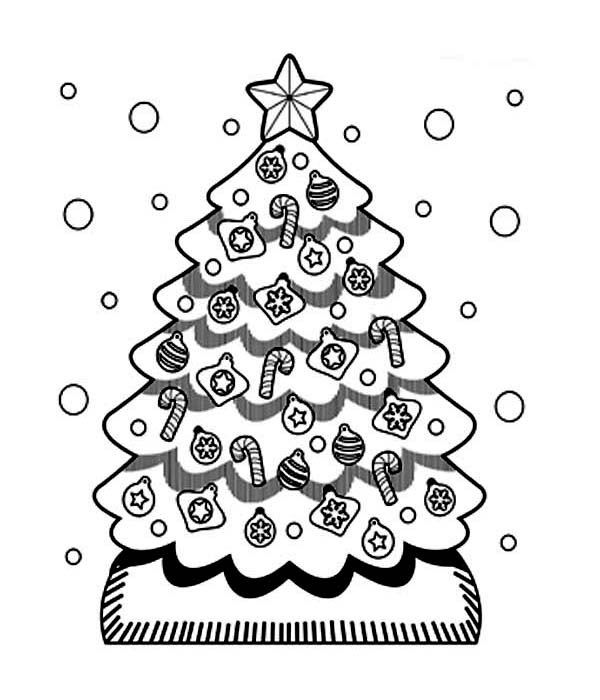 Christmas, : A Sweet Christmas Tree in Snow on Christmas Coloring Page