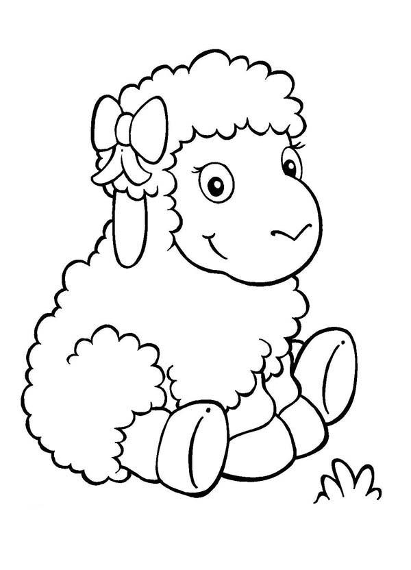 Sheep, : Adorable Baby Sheep Coloring Page