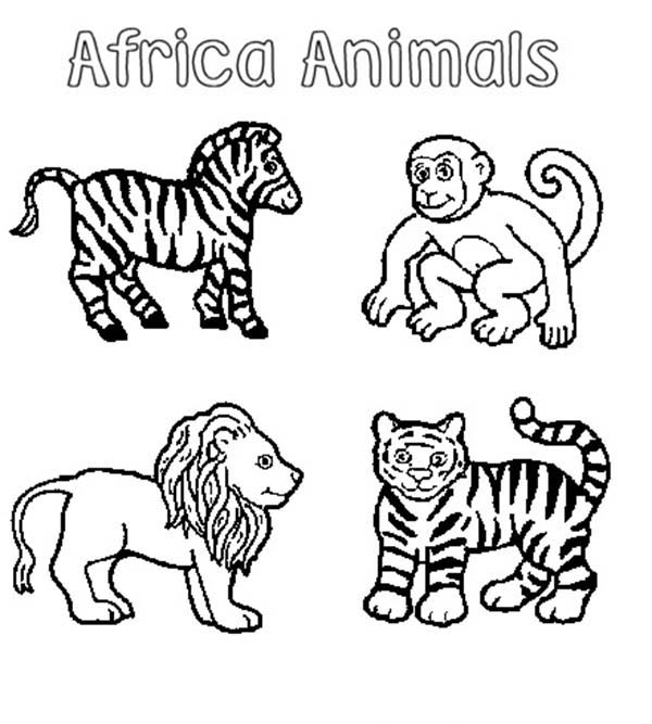 Safari, : African Animals Safari Coloring Page