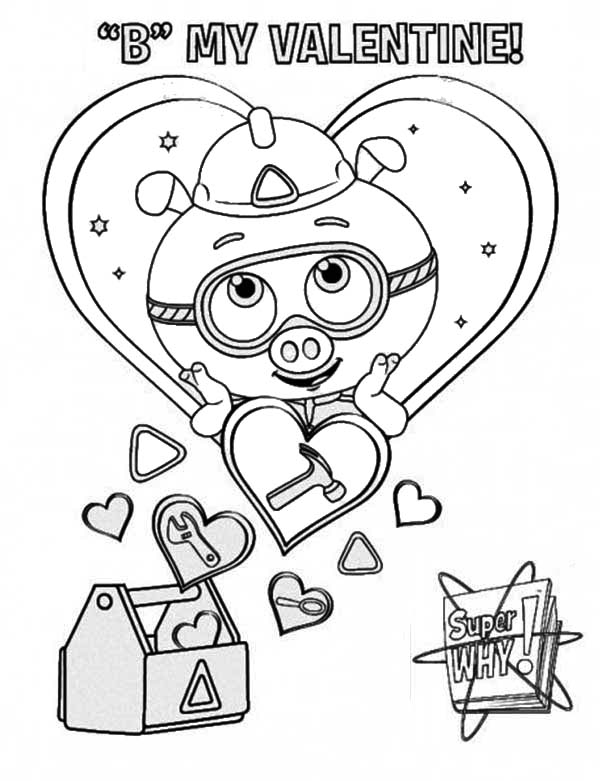 Superwhy, : Alpha Pig Love His Tool Box in Superwhy Coloring Page