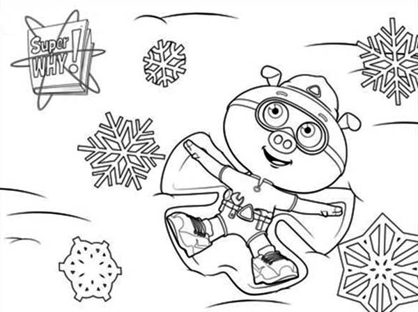 Superwhy, : Alpha Pig Play Snow in Superwhy Coloring Page