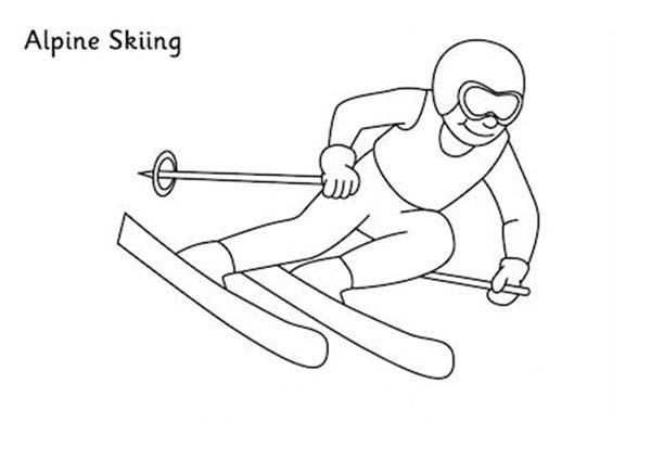 Skiing, : Alpine Skiing Coloring Page