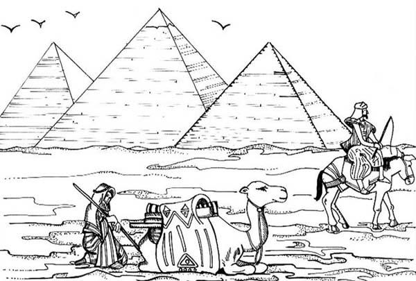 Pyramid, : Ancient Activity Near Pyramid of Khufu Coloring Page
