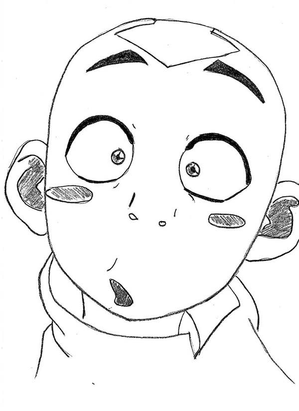 Silly Face, : Avatar Aang Silly Face Coloring Page