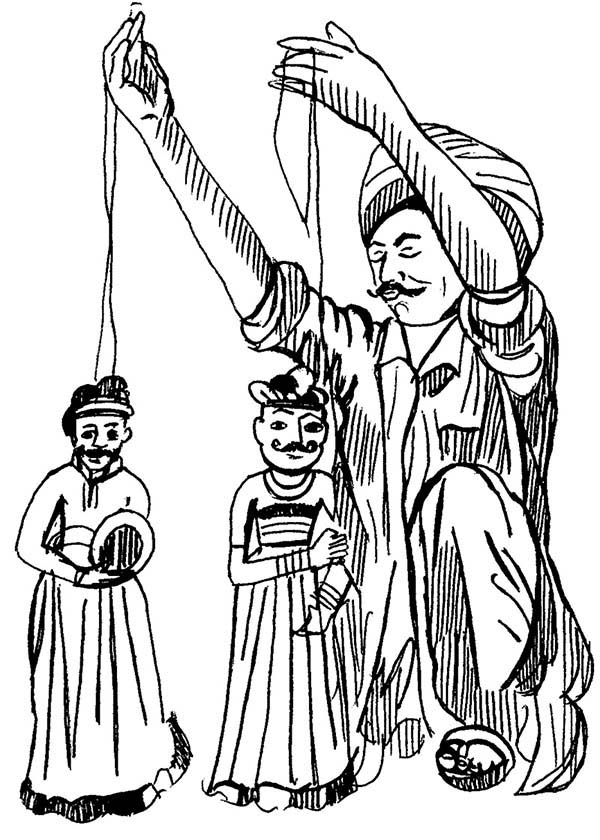 Puppet, : Awesome Puppet Show Coloring Page