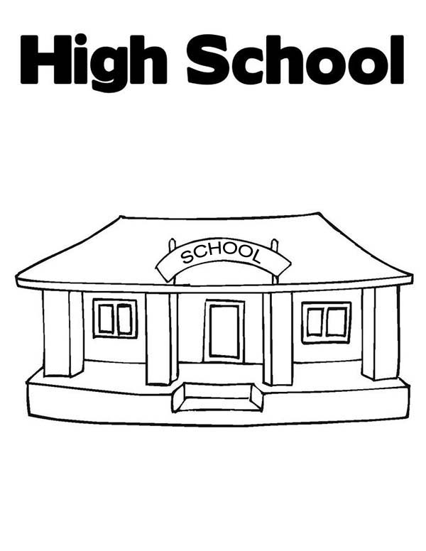 School House, : Awesome School House High School Coloring Page