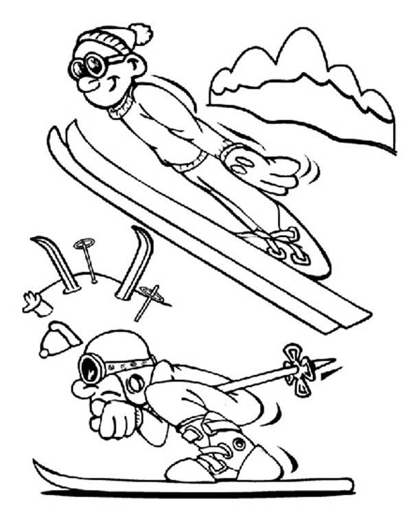 Skiing, : Awesome Skiing Jump Over Coloring Page