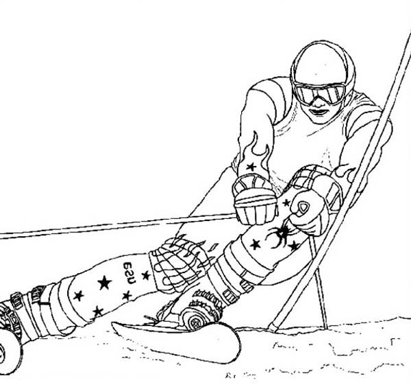 Skiing, : Awesome Skiing Style Coloring Page