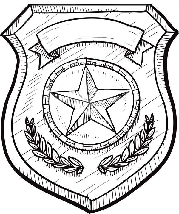 Police Badge, : Badge without Eagles Coloring Page