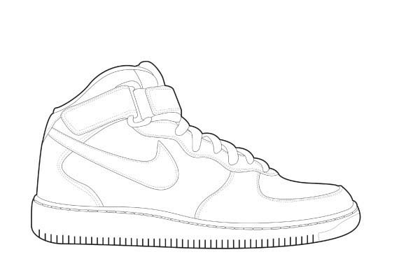 Shoes, : Basketball Shoes Coloring Page
