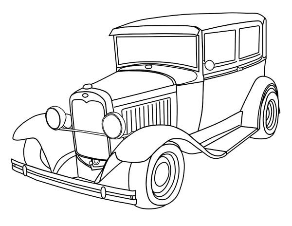 old fashioned cars coloring pages | Beautiful Classic Old Car For Collector Coloring Page : Coloring Sky