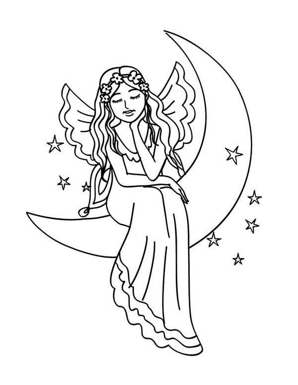 Beautiful Fairy Sitting On The Moon Coloring Page