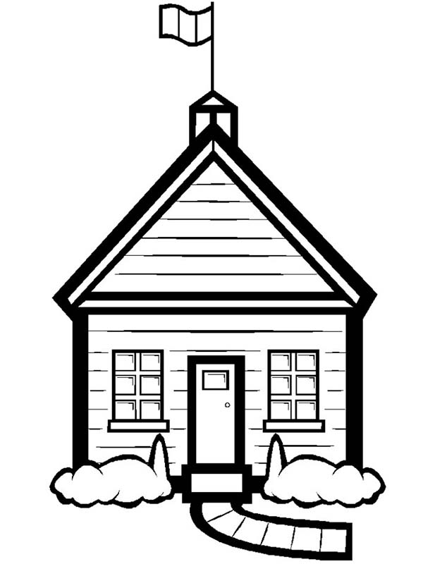 School House, : Beautiful School House Coloring Page