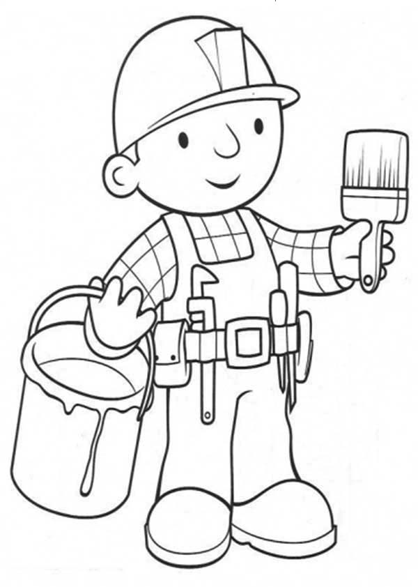 Paint, : Bob Will Paint the Wall Coloring Page