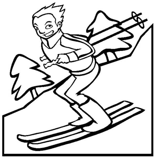 Skiing, : Boy Skiing Downhill Coloring Page