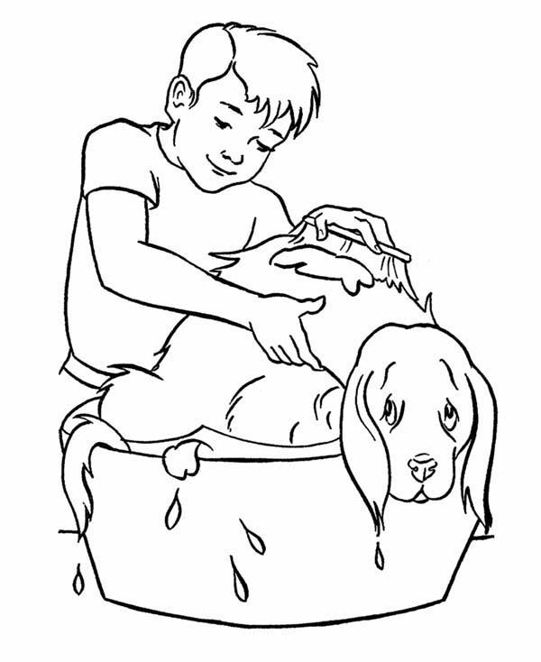 Pet, : Boy Take His Pet Dog to Bath Coloring Page