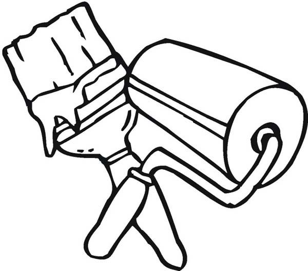 Paint, : Brush and Roller for Paint Coloring Page