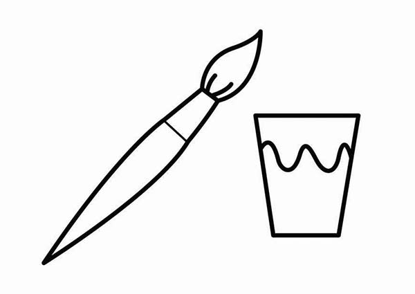 Paint, : Brush and a Cup of Paint Coloring Page