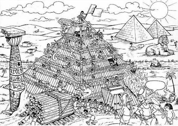 Pyramid, : Building a Pyramid Coloring Page