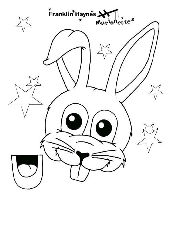 Puppet, : Bunny Puppet Coloring Page