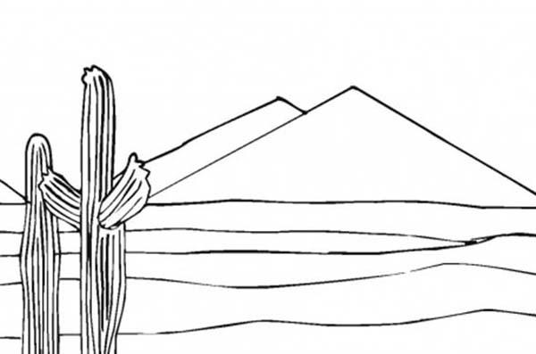 Pyramid, : Cactuses Near Pyramid Coloring Page