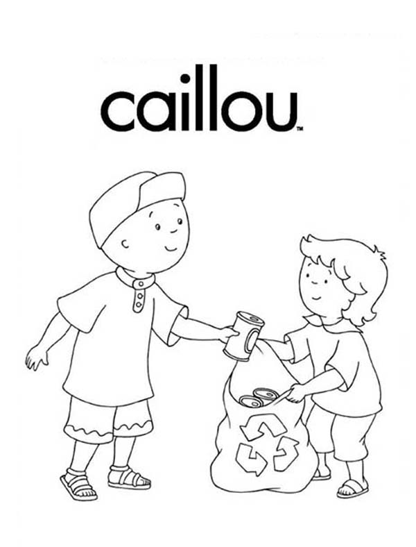 Recycling, : Caillou Recycling Used Can Coloring Page