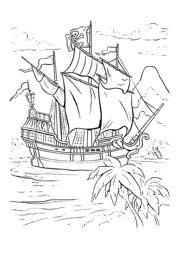 Captain Hook Ship In Peter Pan Coloring Page Coloring Sky
