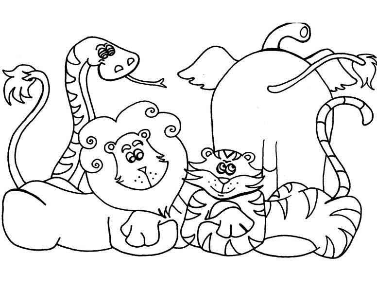 Safari, : Cartoon of African Safari Coloring Page