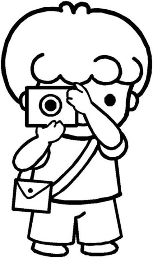 Cartoon Of Little Kids Doing Photography Coloring Page ...