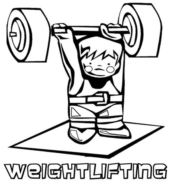 Olympic Games, : Cartoon of Olympic Games Weightlfiting Athlete Coloring Page