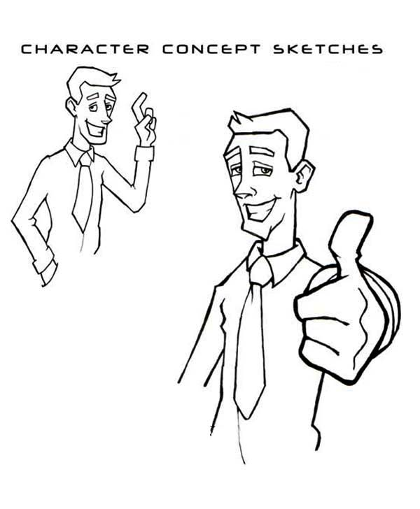 Silly Face, : Cheesy Guy Silly Face Coloring Page