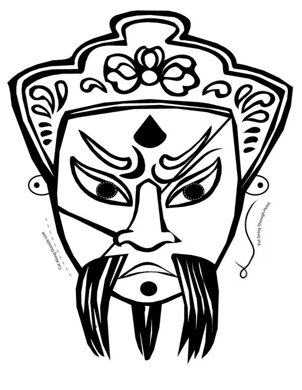 Chinese Ghost Mask Coloring Page