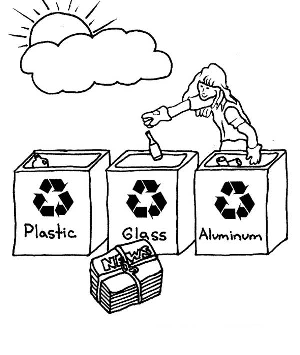 Recycling, : Choose the Right Bucket for Recycling Coloring Page