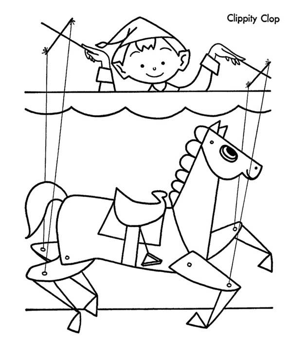Puppet, : Clippity Clop Puppet Coloring Page