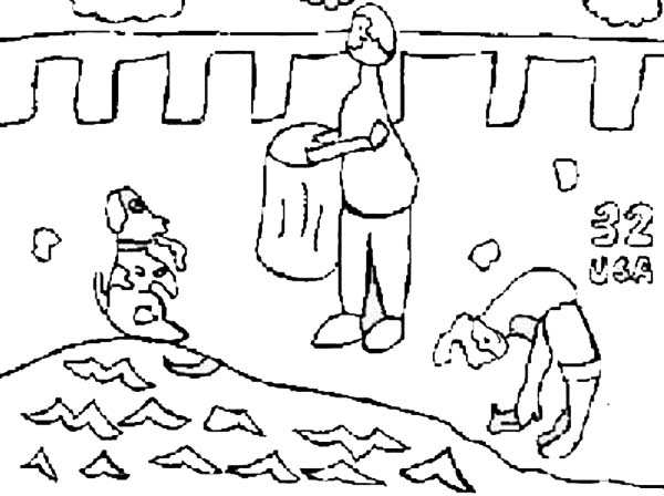 Recycling, : Collecting Garbage on Earth Day for Recycling Coloring Page
