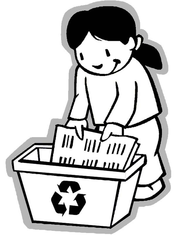 Recycling, : Collecting Paper for Recycling Coloring Page