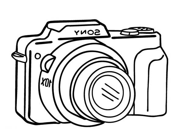 Photography, : Compact Camera in Photography Coloring Page