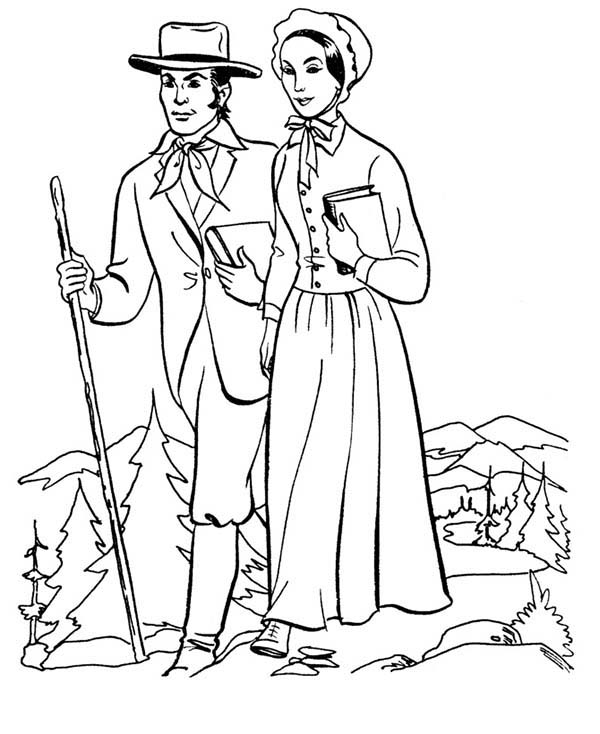 People, : Country People Coloring Page