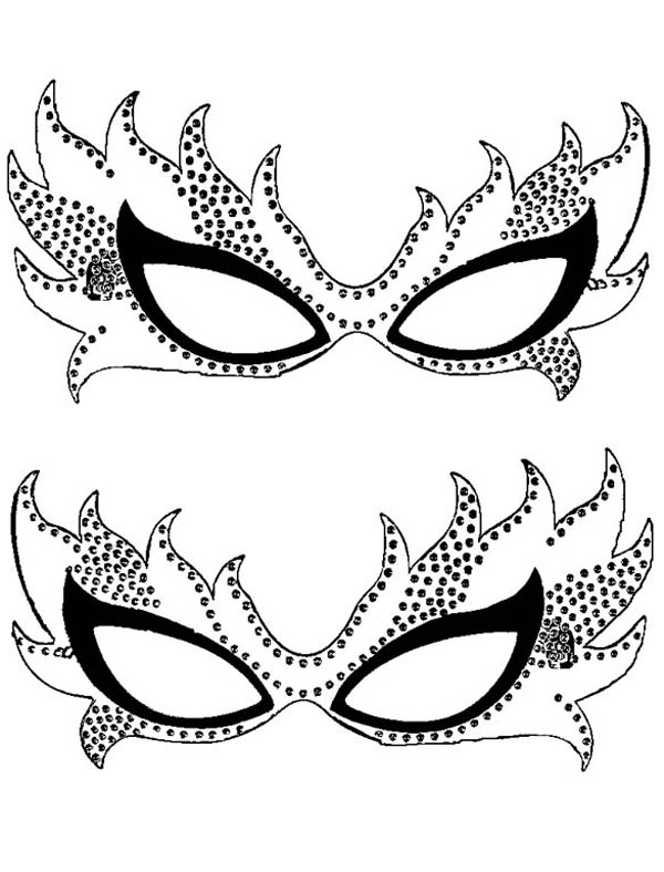 Couple Of Mardi Gras Mask Coloring Page Coloring Sky