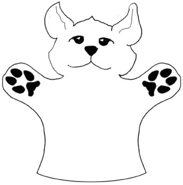 Puppet, : Coyote Puppet Coloring Page