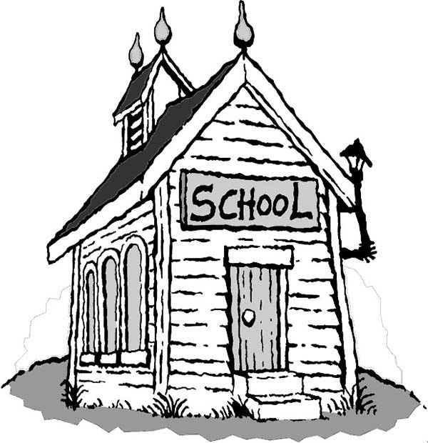 School House, : Creepy School House Coloring Page