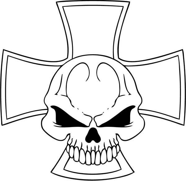 Skull, : Cross Skull Coloring Page