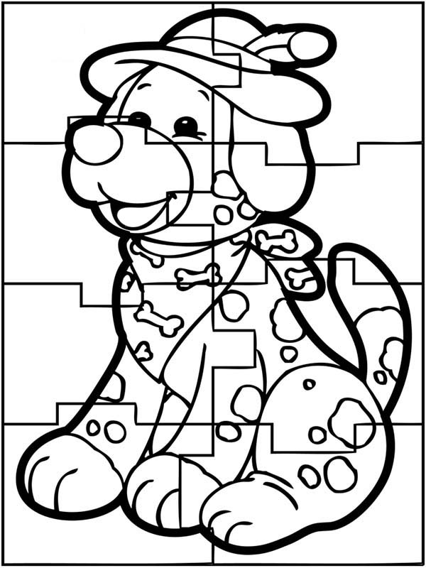 Puzzles, : Cute Dog Puzzles Coloring Page
