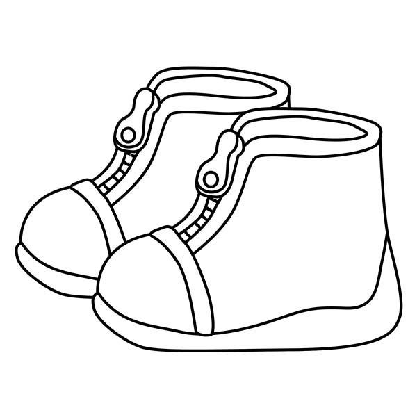 Shoes, : Cute Shoes for Kids Coloring Page