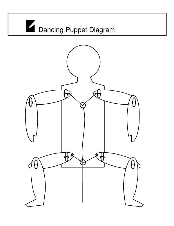 Puppet, : Dancing Puppet Coloring Page