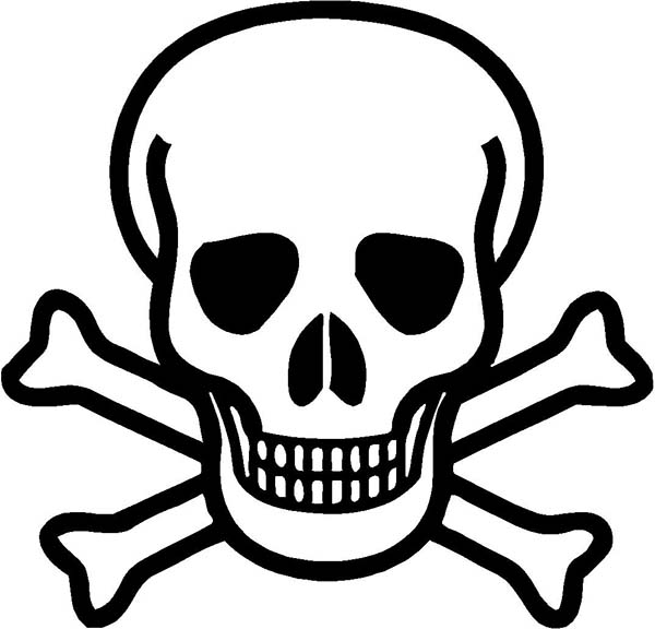 Skull, : Danger Sign Skull Coloring Page